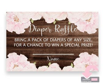 Floral Baby Shower Diaper Raffle Card - Floral Diaper Raffle Insert - Floral Baby Shower Game - Rustic Baby Shower Inserts - Rustic Floral