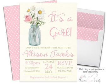 Rustic Floral Baby Shower Invitation   Shabby Chic Baby Shower   Rustic Baby  Shower   Itu0027s