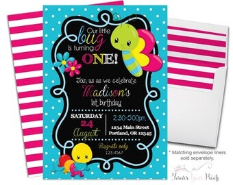 Little Bug Invitation - Little Bug Invite - Bug Party Invite - Butterfly Invitation - Butterfly Invite - Butterfly Party - Girls Birthday