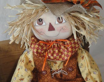 Primitive scarecrow cloth art doll, scarecrow doll, fall autumn scarecrow cloth doll, fall harvest scarecrow art doll, hand made scarecrow