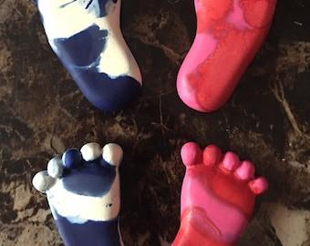 Multicolored Baby feet crayons