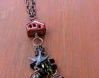 Little Red House Necklace