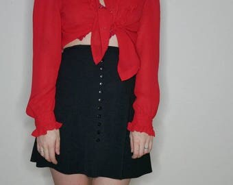 90s black mini skirt with buttons down the front size size 26in
