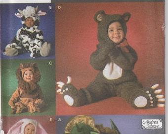 Dragon Costume Pattern Cow Lion Bunny Bear Uncut Girl Boy Toddler Size 1/2 - 4 Simplicity 7317
