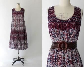 1970s Indian Cotton Dress // 70s Vintage Purple Floral Sleeveless Tent Dress // Large