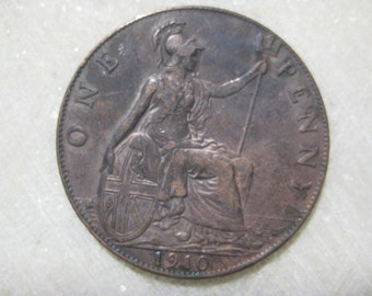 1910 United Kingdom Bronze Coin, One Penny, King Edward VII