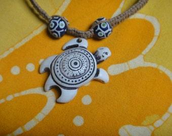 Hawaiian Sea Turtle African Bead Hemp Necklace Mens Jewelry Gift for Him Tribal
