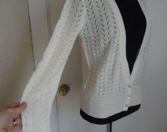 DEEP V Offwhite Knit Pointelle Vintage 1980's Women's BOYFRIEND Cardigan Sweater M