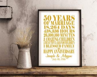 Gold 50th Wedding Anniversary Print 8x10 - Anniversary Gift, Marriage