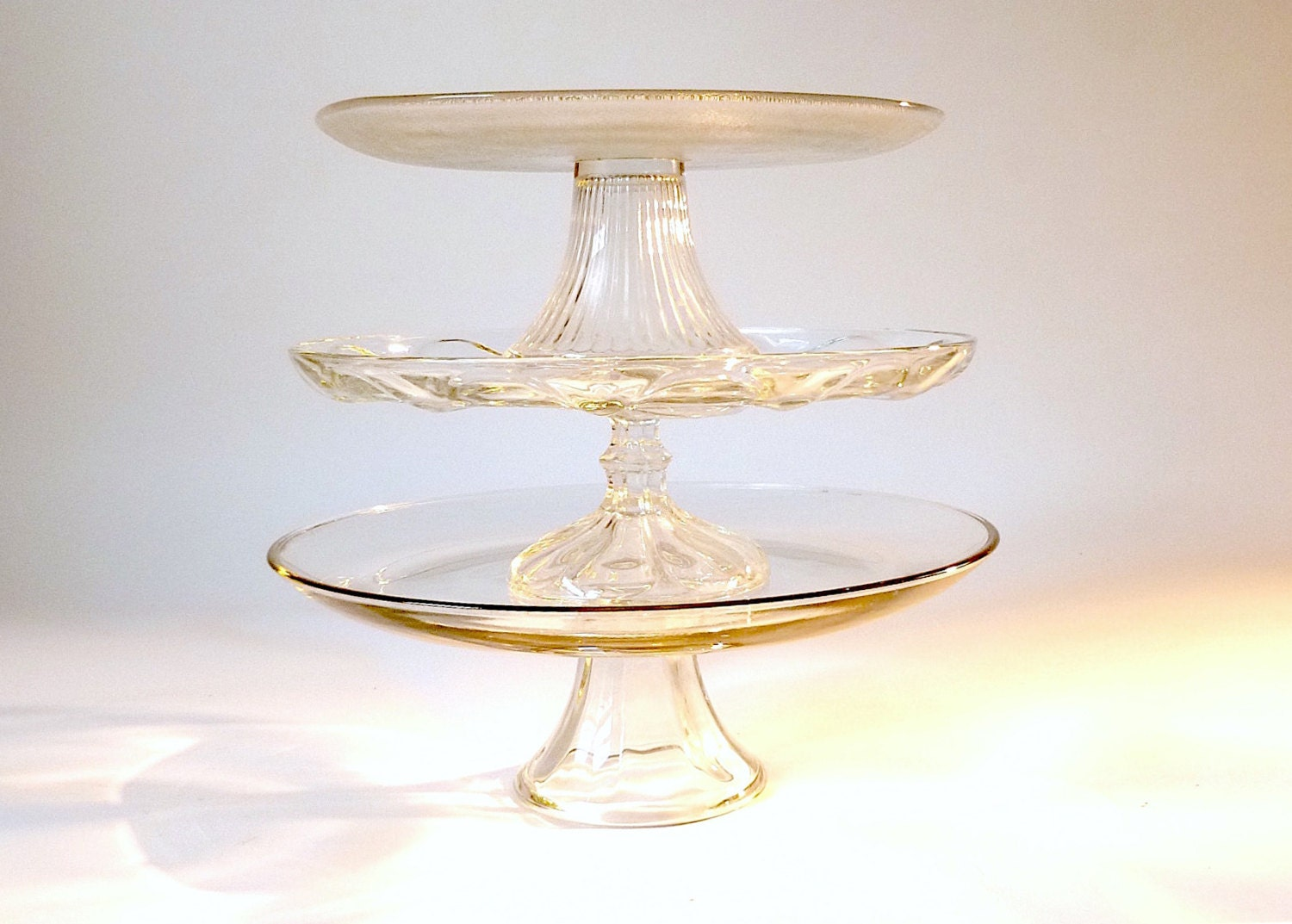 Vintage Glass Cake Stand ... Clear Glass Cake Plate, Ribbed Footed ...