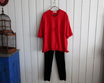 linen blouse tunic top in crimson red A-line ready to ship