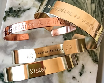 Gift Box Included/ Custom Bracelet, Personalize Hand Stamped Bracelet, Coordinates Wedding Bridesmaid - Your Name, Quote, Mantra, Adjustable