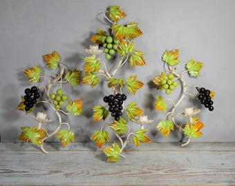 Italian Tole Sconce Set with Grapes