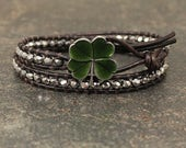 Boho Chic Irish Jewelry Green and Silver Four Leaf Clover Bracelet Crystal and Leather St Patrick's Day Jewelry