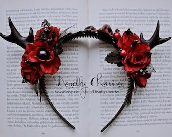 Imortal Bride - One of a kind Dark Mori Gothic Lolita fantasy  deer horns antlers flower hair band