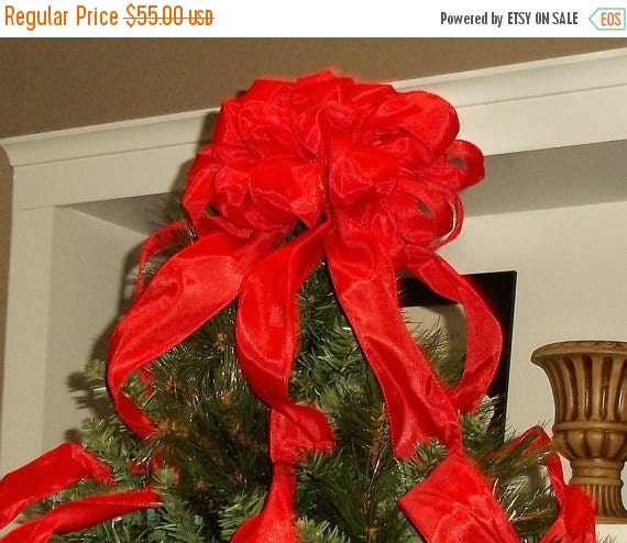 ON SALE Red Christmas Tree Topper Bow with by shannonkristina