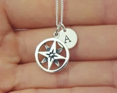 Sterling Silver Compass Necklace, Personalized Necklace, Initial Necklace, Traveler's Gift, Daughter Gift, Mother's Gift, Birthday Gift