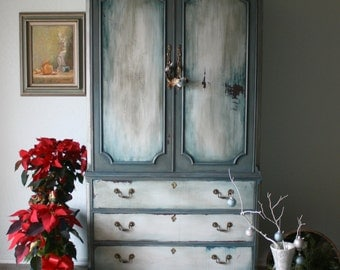 Gorgeous Colors on This Armoire / French Gray, White and Teal Cabinet Elegant Style / Wardrobe / TV Cabinet