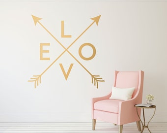 Gold Arrow Love Decal - Crossed Arrows Gold Love Wall Décor - Love Wall Decal - Arrow Decal - Dorm Décor Stickers for Wall - WB405