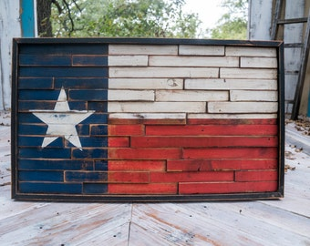 Wooden Texas flag reclaimed lumber home decor wall hanging, stars and strips sign, unique texas flag sign framed flag sign flag mosaic