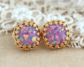 Opal earrings,Opal Stud Earrings,Gift for her,Opal Studs,Opal Jewelry,feminine earrings,Opal Gift for woman,Opal Gold Earrings,Opal Stud