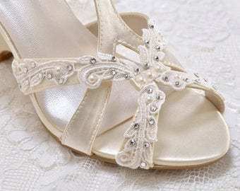Wedding Shoes - Lace Embellishments-T Strap Wedge Sandal- Custom Colors- PBTU2.5 Women's Bridal Wedge Shoes