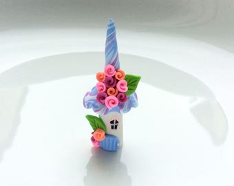 Miniature fairy house in pink and blue handmade from polymer clay