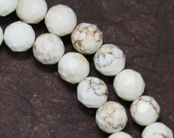 White Magnesite Beads - 8mm Faceted Round - Limited Quantity