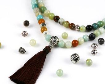 Make Your Own Mala. Flower Amazonite Beads. Choose Your Tassel Color. DIY Bead Kit. Mala Kit. 108 8mm Gemstone Beads.