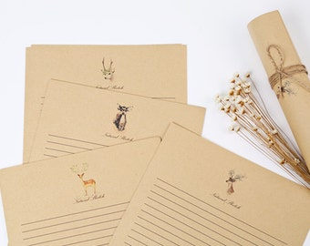 10 Sheets Kraft Paper Letter Writing Paper Sets- Milu Deer