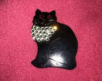 Vintage Back Cat Pin with Crystals