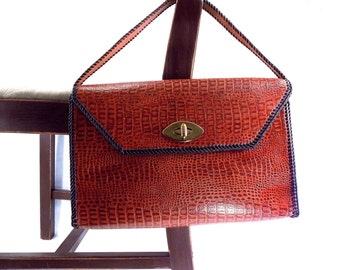 Vintage Embossed Alligator Brown Leather Cowhide Hand Stitched with Black, Rawhide Lashings, Handbag, Satchel, Arts and Crafts, Purse