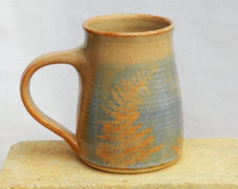Big Mug,Large Blue Stoneware Coffee Mug, Handmade, Wheel Thrown Pottery,Microwavable, Country Kitchen Decor,Cottage, Nature,Woodland Art