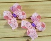 LAST ONE, Lil' Polka Dot SET, Pink/Purple, boutique hair bows