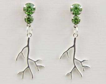 Silver Branch Earrings Handmade Jewelry Steel Post With Peridot Light Green Crystal Rhinestones Sterling Branches Oscarcrow
