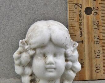 Vintage Antique Excavated German Miniature  Porcelain Doll Head 1860