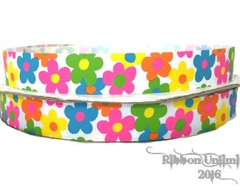10 Yds 7/8 Inch CRAZY DAISIES printed grosgrain ribbon Low Shipping Cost