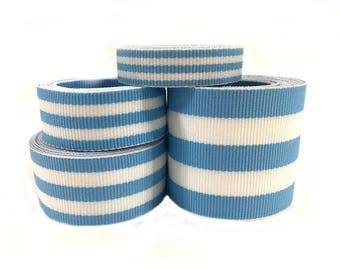 10 Yds WHOLESALE Light Blue TAFFY Stripes grosgrain ribbon LOW Shipping Cost