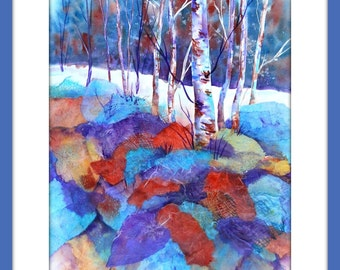 Aspen Tree Collage, Birch Tree Watercolor,Trees and Rocks,Watercolor Collage,Rice Paper Collage,Colorado Art, Mountain Decor, Martha Kisling