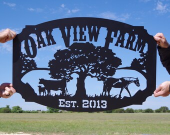 Oak Tree Custom Farm Sign with Cow and Horse LMW-16-70