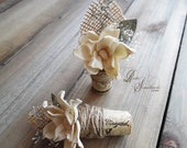 Ships in 5 days  ~~~ Rustic Wine Cork Boutonniere with Sola Flower, Eucalyptus, Babys Breath, Twine & Burlap
