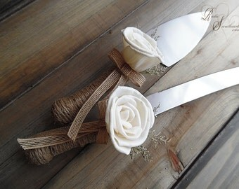 Ready to Ship ~~~ Rustic Wedding Twine Wrapped Cake Server Set with Sola Flowers.