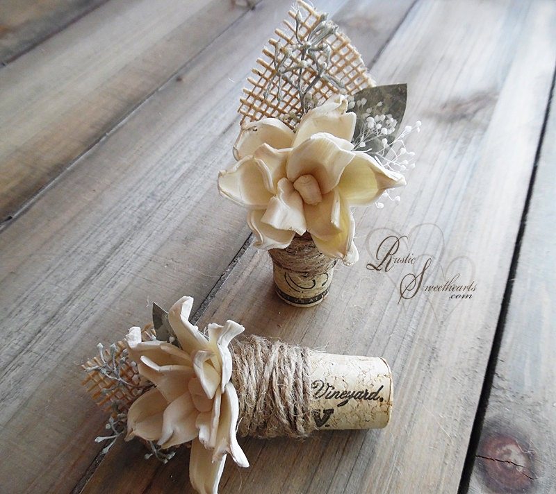 Wedding Cork Boutonniere: Rustic Wine Cork Boutonniere With Sola Flower Eucalyptus