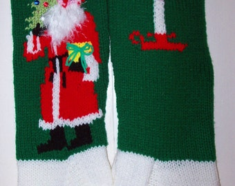 Christmas Hand Knit Christmas Stocking Old Fashioned Santa Personalized