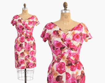 Vintage 50s SILK Dress / 1950s Pink ROSES Floral Print Silk Wiggle Dress S - M