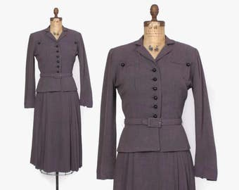 Vintage 40s Tailored Suit / 1940s Dusty Purple Belted Blazer Jacket & Pleated Skirt Set S