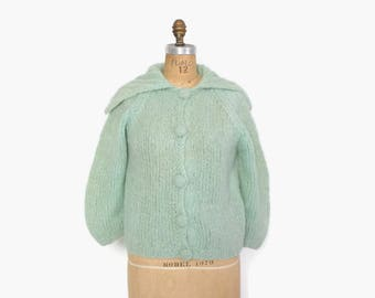 Vintage 60s MOHAIR CARDIGAN / 1960s Hand Knit MINT Green Shaggy Wool Cardi Sweater M