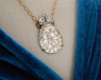 Vintage assemblage necklace West Germany pressed glass rhinestones satin gold finish glass teardrop shape one-of-a-kind Triolette assemblage