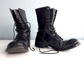 Original Corcoran Jump Boots, Black Leather Boots, Paratrooper, Cap Toe, Split Sole, Combat Boots, Miltary, Stoughton MASS