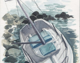 English Bay Shipwreck II- mini landscape painting